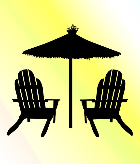 Beach chairs with umbrella svg. digital cut file svg. cricut and  silhouette. all cutting machines. Dxf pdf png files. Make your own designs.