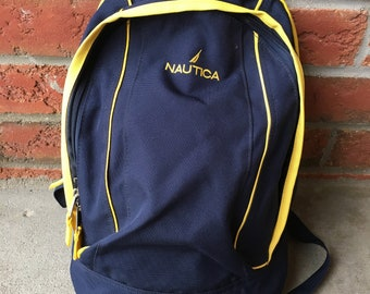 b761d844f2e6 1990s Vintage Nautica Backpack - 90s Nautica Knapsack School Bag - 90 s Hip  Hop Clothing - FREE SHIPPING