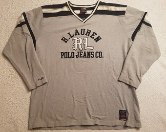 9a20b909eef5c 1990s Vintage Ralph Lauren Polo Jeans Rugby Polo Shirt - 90s RL Polo Jeans  Co Athletic Long Sleeve Rugby Top