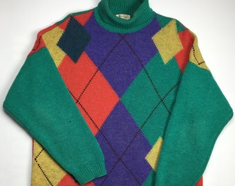 48800c5a288 1980s Vintage Benetton Argyle Turtle Neck Knit Sweater