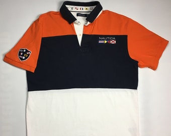 b5278f964 1990s Vintage Nautica Rugby Polo Colour Block Shirt - 90s Nautica Sailing Black  White Orange Rugby Top Sailing Shirt | 90's Hip Hop Clothing