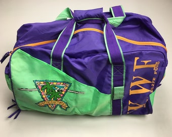 5fb63aef61e5 1990s Vintage WWF World Wildlife Fund Duffle Bag - 90s Bright Neon Green  WWF Travel Bag - 90 s Vintage Clothing