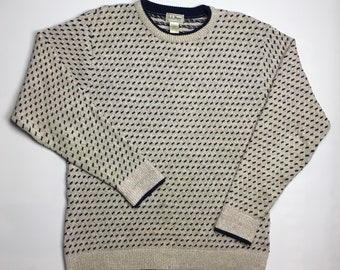a69c0b6213 1990s Vintage LL Bean All Over Print Cosby Knit Sweater