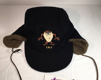 90s Vintage Taz Looney Tunes Winter Trapper Hat   1990s Taz Devil Brimmed  Winter Toque - Saturday Morning Cartoon Characters 62d5bd5ed599