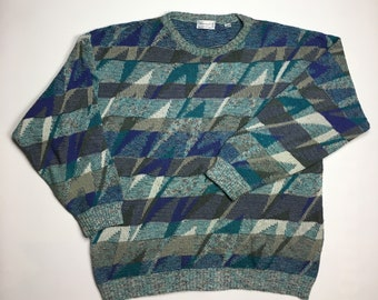 091bbda5f04 1990s Vintage Avanrada All Over Print Cosby Knit Sweater