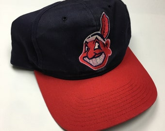 70dbc50770499 90s Vintage Cleveland Indians Snap Back Hat   1990s MLB Baseball Team Hat  By Twin Enterprises - 90s Clothing Hypebeast Streetwear