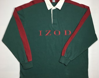 9560a89a9c5 1990s Vintage IZOD By Lacoste Rugby Polo Shirt - 90s IZOD Colour Block Polo  Athletic Long Sleeve Rugby Top