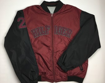 f9367f6d 1990s Vintage TOMMY HILFIGER Spell Out Reversible Bomber Jacket - 90's Tommy  Hilfiger Winter Bomber Coat - 90s Hip Hop Hype Beast Clothing