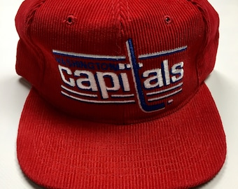 f008e1986a2 90s Vintage Washington Capitals Corduroy Hat / 1990s Ted Fletcher Capitals  Snapback Hat NHL Ice Hockey Team Hat - 90's Hip Hop Clothing