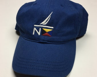 5b5874a0 90s Vintage Nautica Sailing Strap Back Hat / 1990s Blue Nautica Big Logo Dad  Hat - Retro Hip Hop Clothing - FREE Shipping