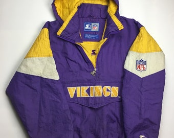 76a3400f0 90s Vintage Minnesota Vikings Starter Windbreaker Jacket - 90s VIKINGS NFL  Football Starter Quarter Zip Bomber Coat - Retro Hip Hop Clothing