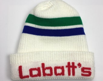 a5a41fb4f2bbb 90s Vintage Labatt s Beer Logo Athletic Beanie Toque   1990s Rams Labatt s  Brewery Winter Hat - Retro Hip Hop Clothing - FREE Shipping