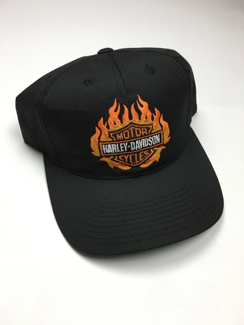 8691ef3c2 90s Vintage Harley Davidson Motorcycle Snap Back Hat / 90s Harley Davidson  Flaming Logo Hat By Annco - Hip Hop Clothing Hypebeast Streetwear