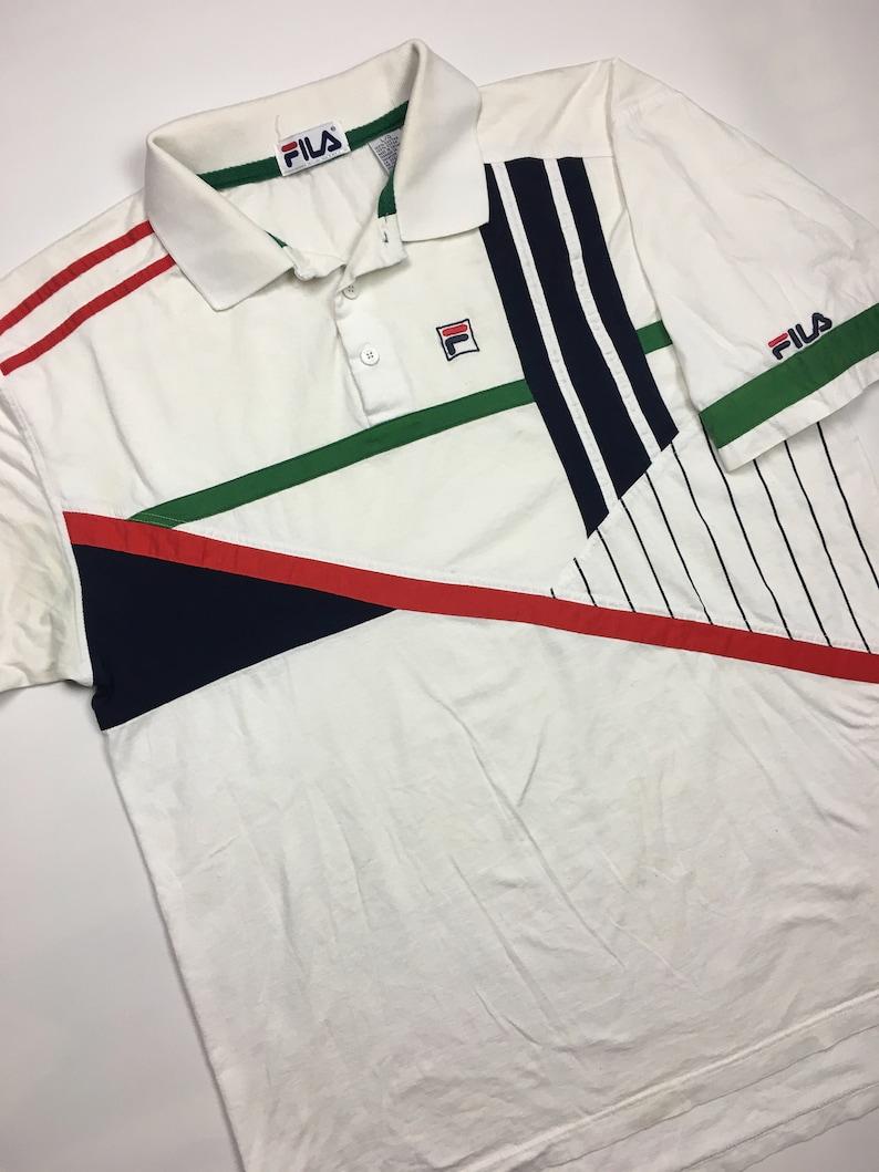 f8325b001 1990s Vintage FILA Colour Block Polo Shirt 90s Fila Logo