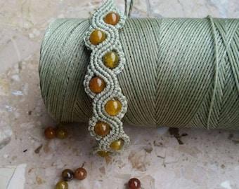 Macrame bracelet, bracelet, green, agate, macrame jewelry