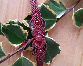 Macrame bracelet, tourmaline beads, macrame bracelet