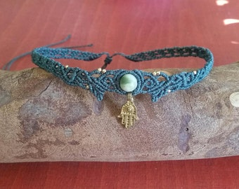 Macramé Choker Necklace Tiara Hair Jewelry Jade