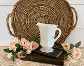Vintage White Milkglass Pitcher, Vintage Milk Glass Grape Pattern Pitcher