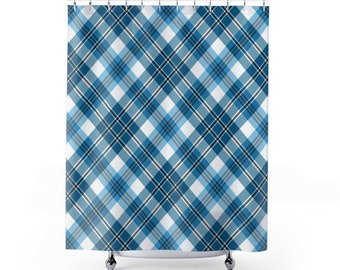 Blue And White Plaid Shower Curtain