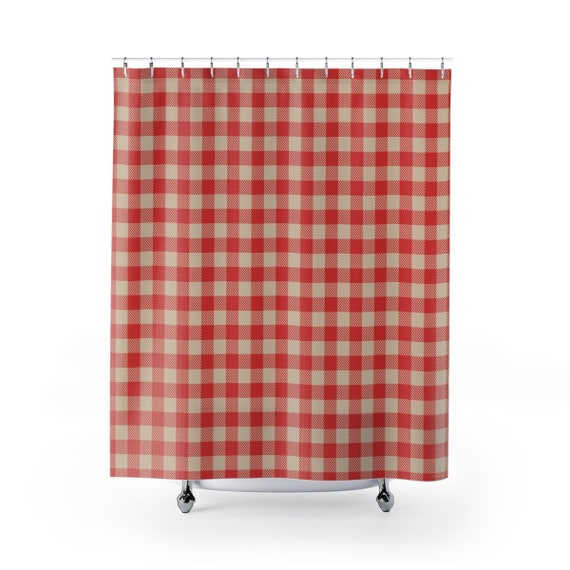Christmas Shower Curtain.Christmas Shower Curtain Water Resistant Treated Polyester In Red And Beige Buffalo Plaid From Our Cozy Christmas Collection