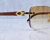 Cartier rimless vintage wood C decor brand new with box Bubinga gold Woods