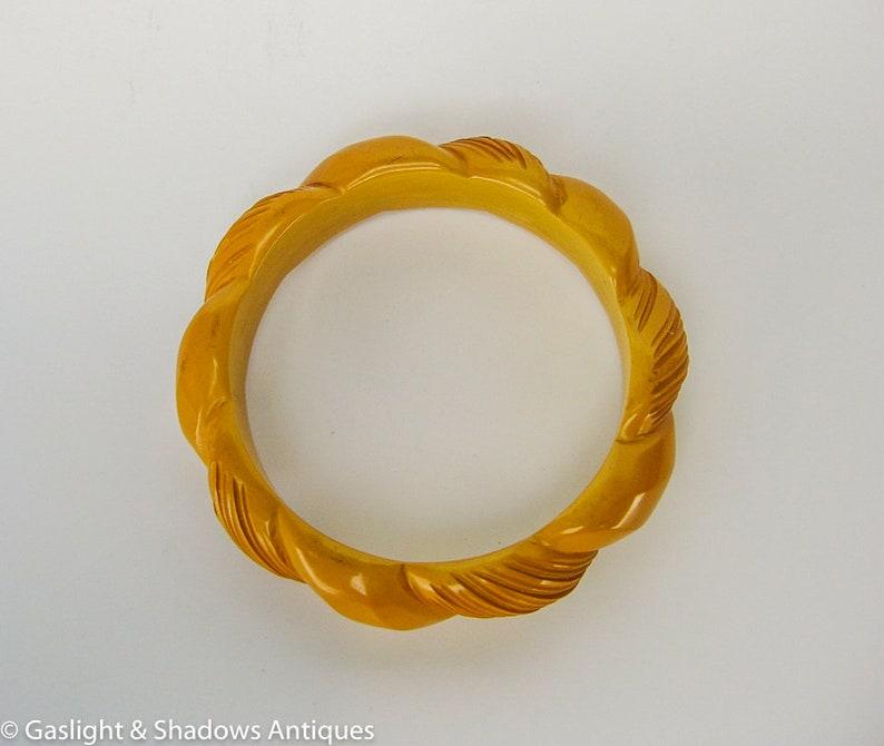 Butterscotch Bakelite Carved Vintage Thick Bracelet Bangle