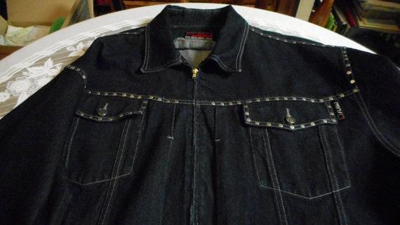 Vintage FUBU men's XXL dark blue denim jacket with