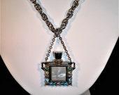Vintage PERFUME PENDANT NECKLACE - Sweet Little Rhinestone Mother Pearl Perfume Pendant Necklace - Excellent Vintage Condition