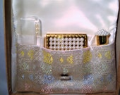 Vintage DORSET COSMETIC BAG - Lovely Dorset Rex Cosmetic Bag, Pearl Adorned Compact, Comb Lipstick Holder - Excellent Vintage Condition