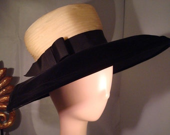 Vintage GWENN PENNINGTON HAT - Black Velvet Wide Brim   Sheer Pleated  Crepey-Ivory Crown - Great Vintage Condition!! c672465e95d9