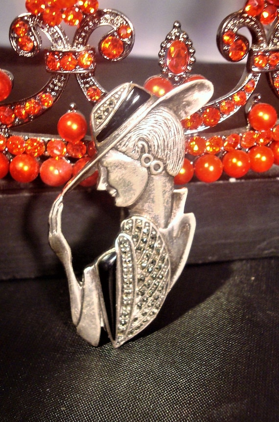 vintage marcasite lady charms chain bracelet 925 sterling silver b2589