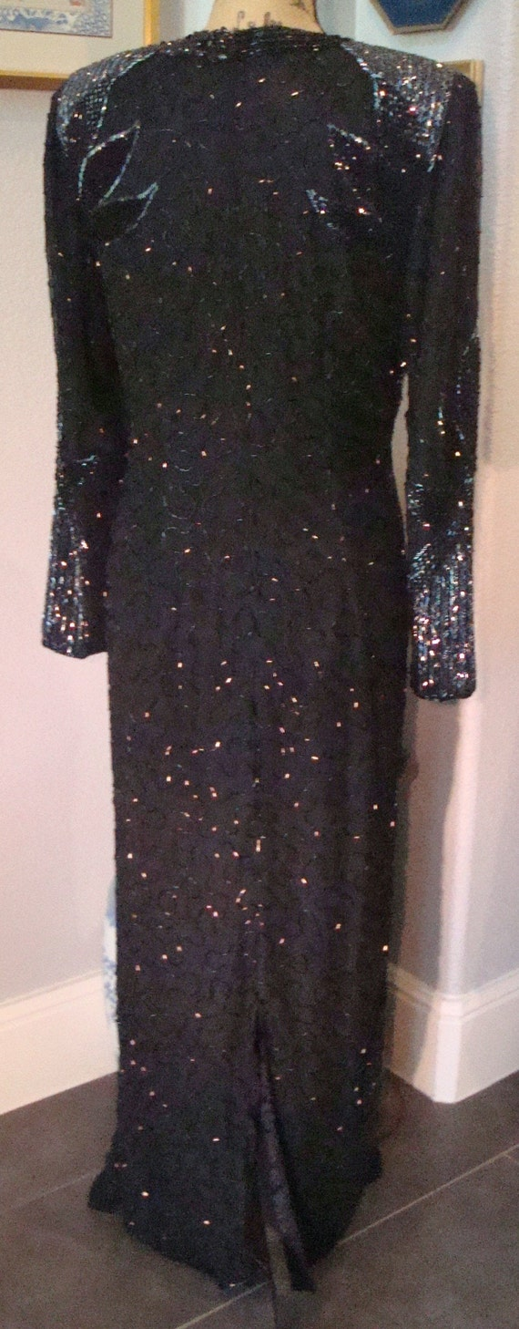Vintage BLACK BEADED GOWN - Lovely Formal Silk, B… - image 9