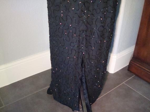 Vintage BLACK BEADED GOWN - Lovely Formal Silk, B… - image 8