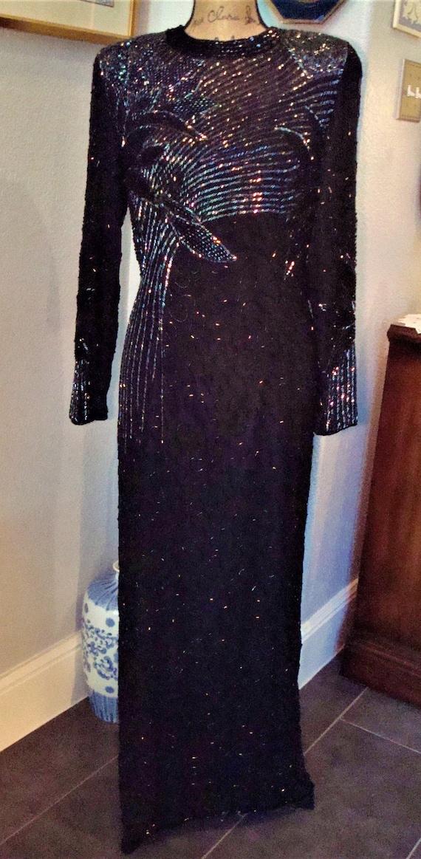 Vintage BLACK BEADED GOWN - Lovely Formal Silk, B… - image 3