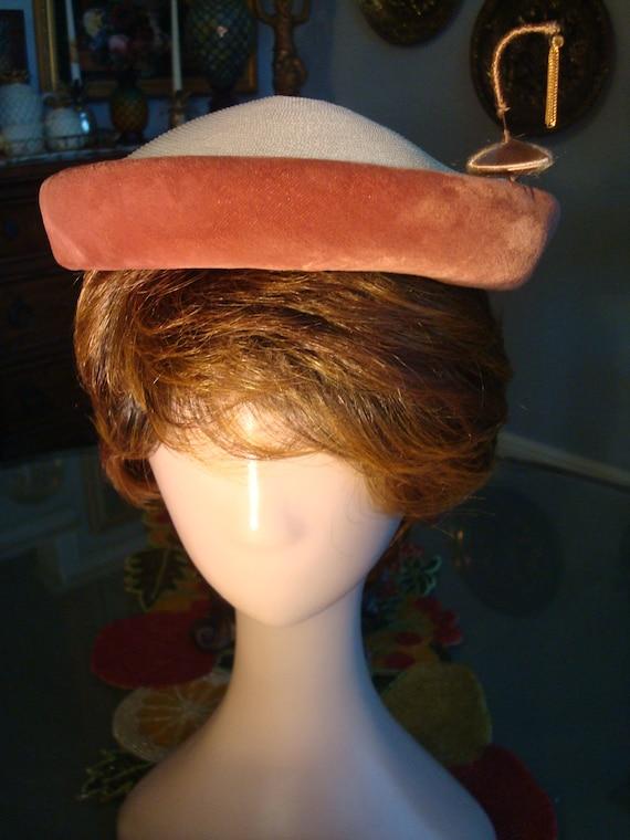 Vintage STRAW & VELVET CAP - Straw, Rust Color Ve… - image 2