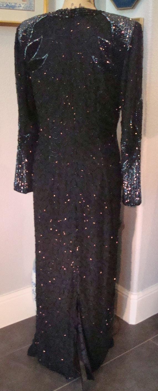 Vintage BLACK BEADED GOWN - Lovely Formal Silk, B… - image 5
