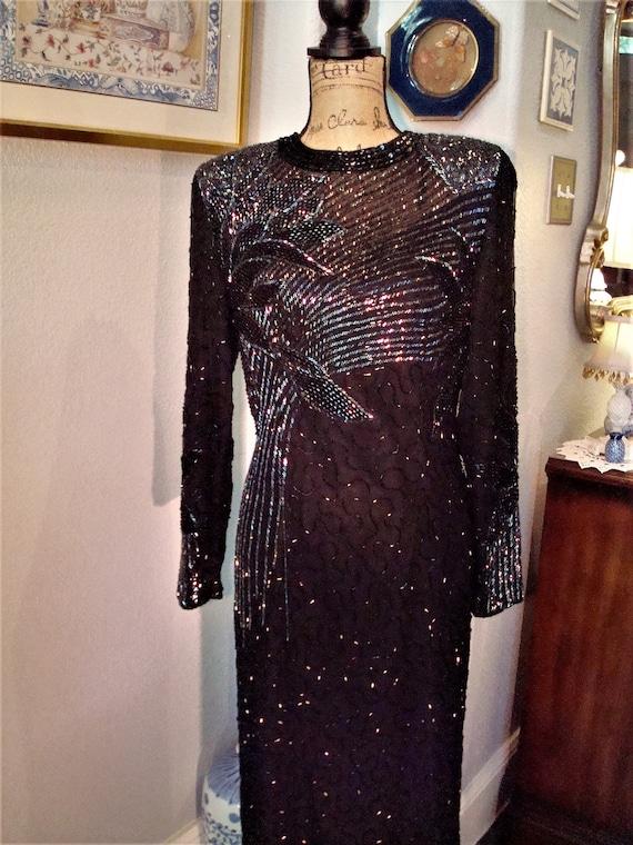 Vintage BLACK BEADED GOWN - Lovely Formal Silk, Bl