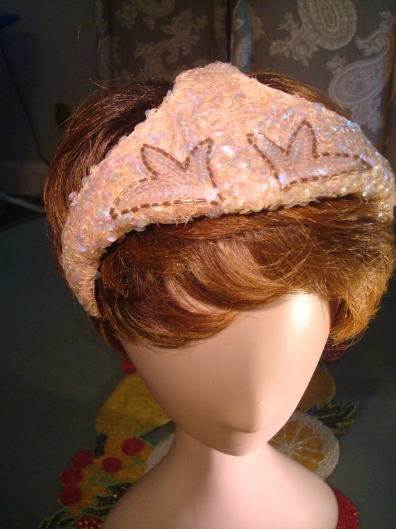 Vintage PINK SEQUIN FASCINATOR - Lovely Pink & Bro