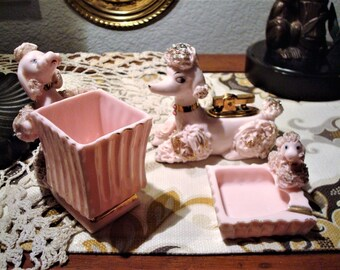 Vintage Working POODLE LIGHTER SET - Working Pink & Gold Spaghetti Poodle Lighter with Coordinating Poodle Cigarette Cup and Poodle Ashtray