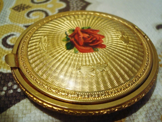 Vintage GOLD GUILLOCHE COMPACT - Gold Guilloche wi