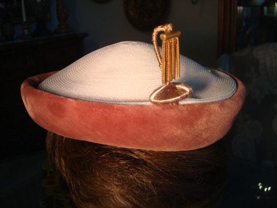 Vintage STRAW & VELVET CAP - Straw, Rust Color Vel