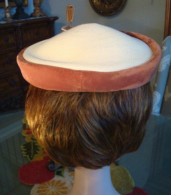 Vintage STRAW & VELVET CAP - Straw, Rust Color Ve… - image 9