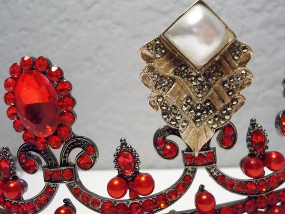 Vintage Faux PEARL & MARCASITE BROOCH - Ornate St… - image 4