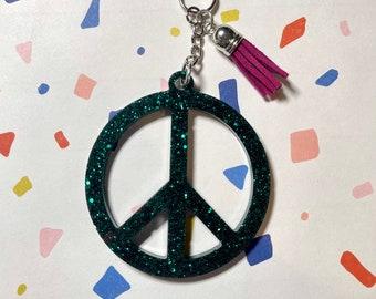 Wrist Keychain Retro Peace Signs