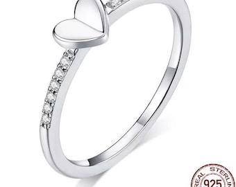 Dazzling Zircon Love Heart 925 Sterling Silver ring