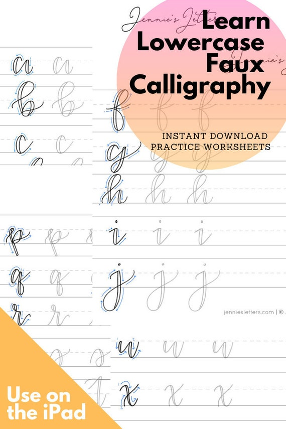 Faux Calligraphy Hand Lettering Practice Worksheets Lowercase Etsy