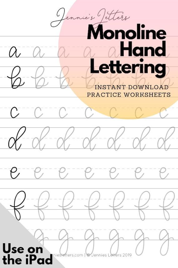 Hand Lettering Practice Worksheets Monoline Lowercase Alphabet Etsy