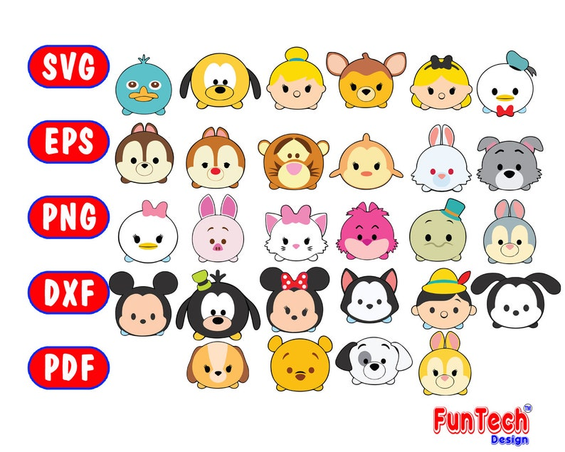 Tsum Tsum characters, SVG patterns, PNG images and EPS files, Receive a  complete collection of Disney patterns for papercraft projects, FTD1