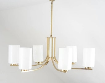 Stunning 6 armed brass chandelier, vintage lamp, midcentury opal glas, golden brass Body, rare light, -1960s-