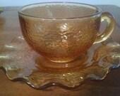 Hazel Atlas Pebblestone Teacups with Saucers - Amber